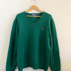 POLO Ralph Lauren v neck green wool sweater
